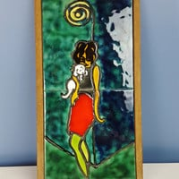 Vintage Irma La Douce Tile Framed Artwork Bright Colors Green Blue Red Yellow Woman with Puppy Fashion Art Pencil Mini Skirt Israeli Artwork