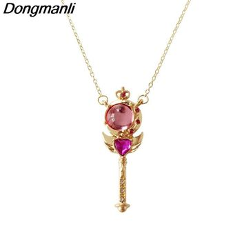 P1732 Dongmanli Cute Sailor Moon Wand Gold Link Chain Necklace for Best Friends Necklace Women Anime Jewelry  kids for gift
