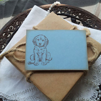 Baby Shower, Childrens Birthday and Party Place Cards Food Buffet Label Tags Puppy Dog Set of 10