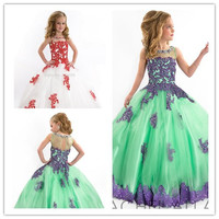 2016 Girls Pageant Dresses Ball Gown High Collar Blue Green Red Beaded Baby Little Tutu Flower Girls Dresses For Wedding