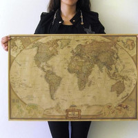 Vintage Retro The World Map Paper Poster Large Art Print