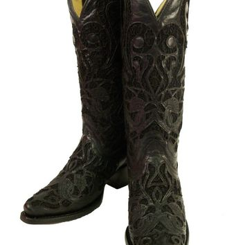 Women's Corral R1088 Black Lace Inlay Goat Skin Boots