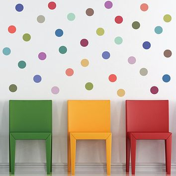 """Modern Multicolor 4"""" Polka Dot Wall Decals, Removable and Reusable"""