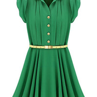ROMWE | Flouncing Buttoned Green Dress, The Latest Street Fashion