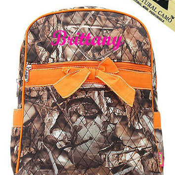 Orange Camo Monogrammed Backpack  Monogram Quilted Backpack  Personalized Backpack