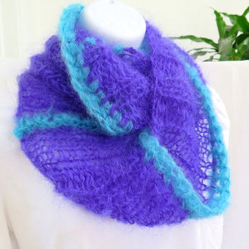 Purple mohair cowl, wool mohair crochet neck warmer, purple and turquoise loop scarf, gift under 40