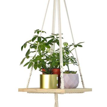 Boho Macrame Hanging Floating Shelf Planter