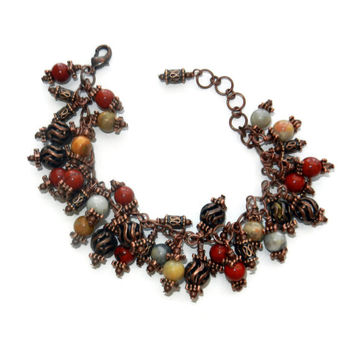 Indian Red and Copper Beaded Cluster Bracelet