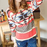 Geometric Knitting Loose Crewneck