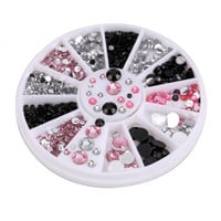 New Acrylic Nail Art Decoration Black White Pink Glitter Rhinestones