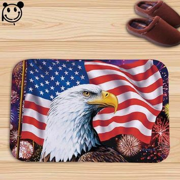 PEIYAUN Geometric Figures American Eagle Spirit Flag Flannel Factory Custom Made Indoor Floor Mat Carpets Door Mat
