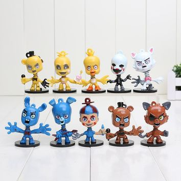 10sets 2.5 Inch  At  Bobblehead key Chain Ring Freddy bonnie chica foxy Doll Kids Action Figures Toy