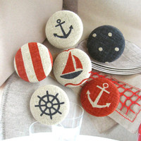 "Fabric Buttons, Fridge Magnets, Nautical Magnets, Nautical Buttons, Stripes Button, Large Buttons, Flat Backs, Beige Buttons, 1.25 "" 6's"