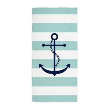 Blue Anchor on Mint Stripes Beach Towel> Beach Towels> Heartlocked
