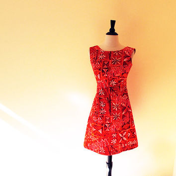 60s Hawaiian Red Dress / 1960 Red Sleeveless Sun  Dress / 60s Mini Aloha dress / Beach Dress