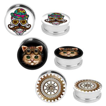 BodyJ4You Plugs Screw Fit Stainless Steel Steampunk Skull Cat 6G-14mm Piercing Jewelry Set 6 Pieces