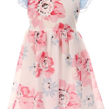Girls Ivory & Pink Cotton Floral Easter Dress w. Ruffle Sleeves 2T-10