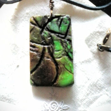 Maine Woods Series necklace, artisan abstract rustic statement pendant green brown highly textured    #633 rustic bead