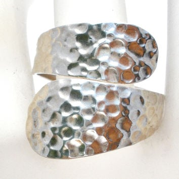 Sterling Silver Hammered Bypass Ring Size 8