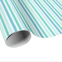 Beach Blue Stripes Wrapping Paper