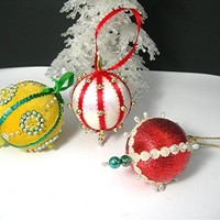 Vintage Christmas Tree Ornaments, 1960s Era Handmade Beaded, 3 Round Holiday Decorations, Beads Ribbon, Yellow Red White Green, Home Decor