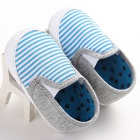 Infant Baby Boys Girls Shoes Casual Cotton Shoes Striped Newborn First Walkers 0-18M
