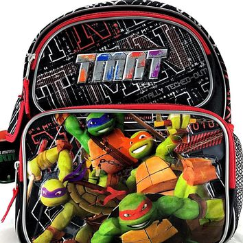 "Teenage Mutant Ninja Turtles 12"" Canvas Black & Red School Backpack"