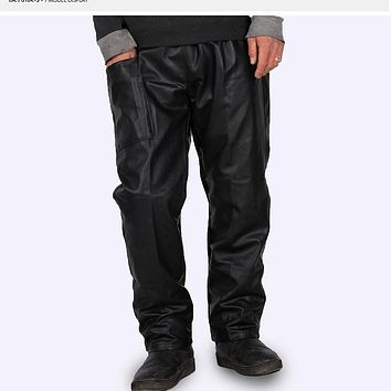 #2202 2017 Straight Black leather pants men Fashion Car wash Dust-proof Chef Work clothes Loose Elastic waist Side pocket