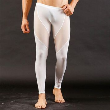 Tight breathable men's pants ultra-thin net yarn sexy men yoga fitness pants soft comfortable male sport leggings yoga trousers