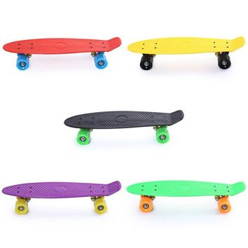 DCCKL72 5 Color 22 Inches Skate Four-wheel Street Long Skate Board Freestyle Cool Popular Mini Cruiser Skateboard Fish Banana Long Board