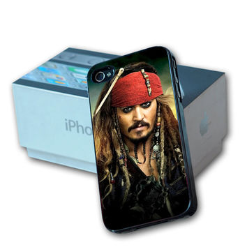 Jack Sparrow Pirates of Caribbean  Design For iPhone 4/4s and iPhone 5 Case, Samsung S3 i9300 and Samsung S4 9500