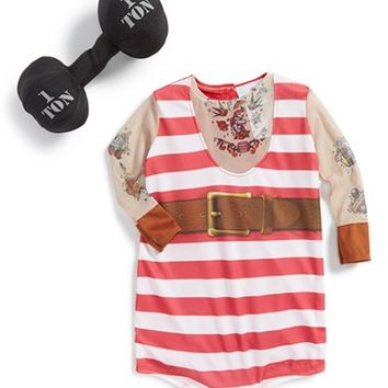 Infant Boy's InCharacter Costumes 'Silly Strongman' Print Bodysuit & Stuffed Barbell,