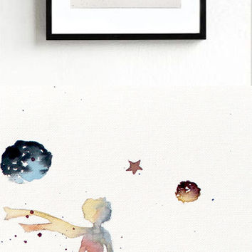 new -The LITTLE PRINCE #2 - ORIGINAL Watercolor Le Petit Prince Painting Gift Decor Kids Room Art Wall Decor Home