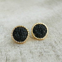 Druzy Button Earrings in Black [4381] - $7.20 : Vintage Inspired Clothing & Affordable Dresses, deloom | Modern. Vintage. Crafted.
