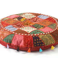 One Kings Lane - Eastern Accents - Patchwork Floor Cushion, Red/Multi
