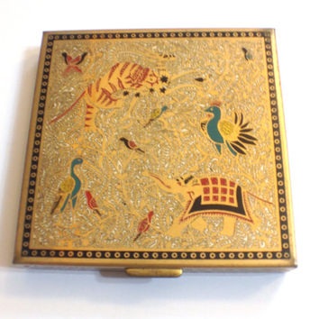 Vintage Enamel Square Volupte Compact with Exotic Asian Animals, Gold, 1950s