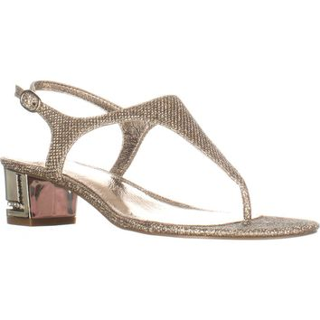 Adrianna Papell Cassidy T-Strap Sandals, Platino, 6 US