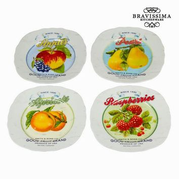 Set of 4 plates fruits - Kitchen's Deco Collection by Bravissima Kitchen