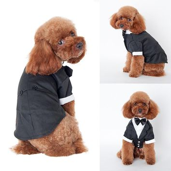 Hot Pet Dogs Cat Clothing Prince Wedding Suit Tuxedo Bow Tie Puppy Clothes Coat