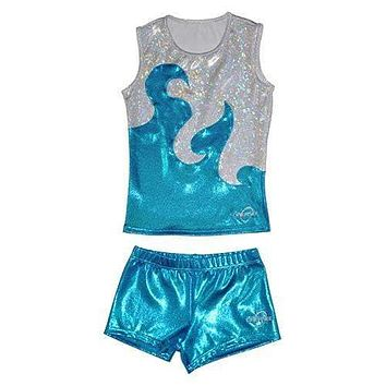 O3CHSET004 - Obersee Cheer Dance Tank and Shorts Set - Turquoise Waves