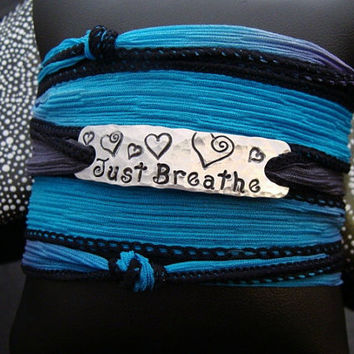 SALE D2E personalized engraved hand stamped Just Breathe hammered aluminum bar adjustable silk ribbon wrap bracelet with magnetic clasp