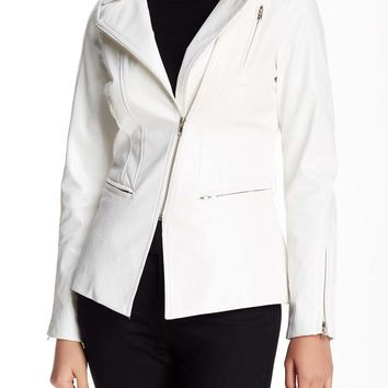 White Vegan Leather Motorcycle Jacket