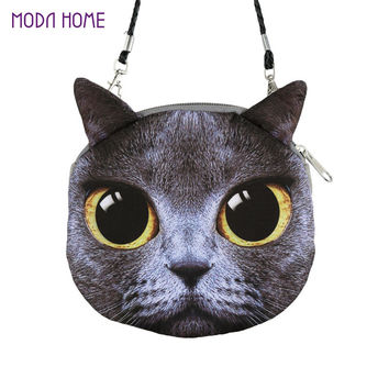 New Fashion Women Cute Shoulder Bag Cat Face Pouch Bag Cartoon Print Zipper Closure Messenger Bag Coin Purse Clutch Bag