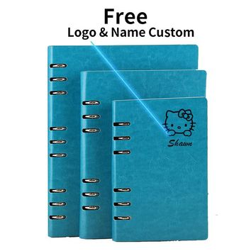 A5 Logo Name Custom Leather Notebook Spiral Binder Loose leaf Diary Daily Office School Mini A6 PU Leather Notepad with Rings