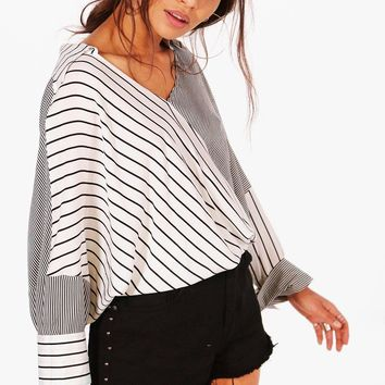 Keira Stripe Spliced Oversized Shirt | Boohoo