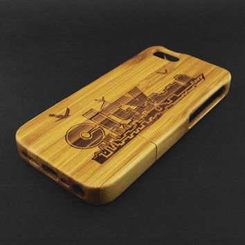 Skyline City Dark Bamboo Wood iPhone 5s Case - Real Wood iPhone 5 Case - Custom iPhone 5s Case Wood - Wooden iPhone 5 Case - Christmas Gift