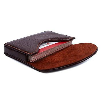 Leather Business Name Card Holder Case Wallet Credit Card Book with Magnetic Shut