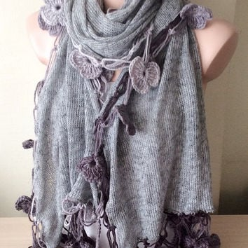 Oversized Handmade Crochet Gray Flower Lace Trimmed Scarf, Rectangle  Knitted Fabirc Shawl