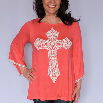 Coral Cross Crochet Patch Tunic Top with Detailed Cuffs