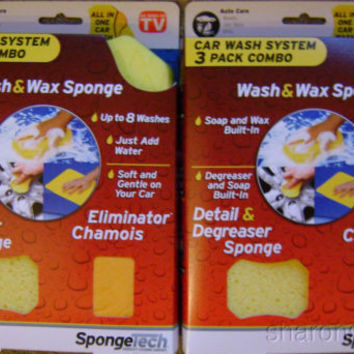 Lot 2 SpongeTech Car Wash System 3 Pack Combo Soap Wax Degreaser Chamois 8 Wash